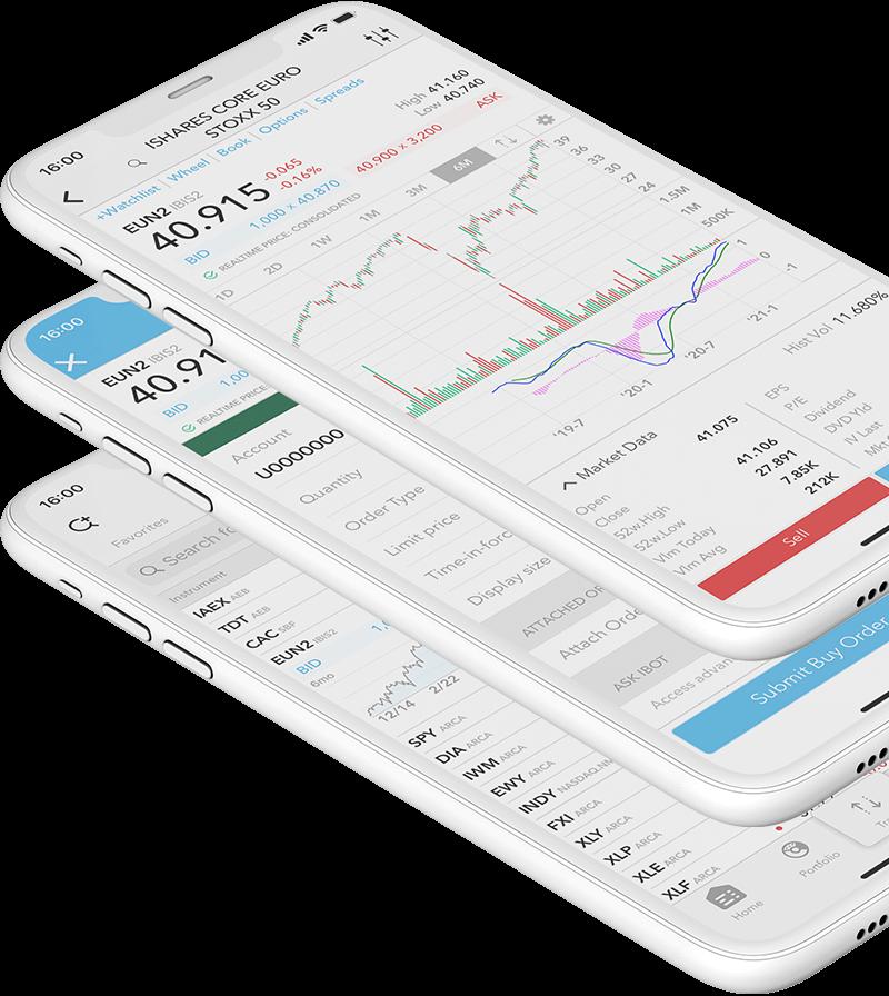 Mobilní telefony s LYNX Trading aplikací a otevřeným cenovým grafem