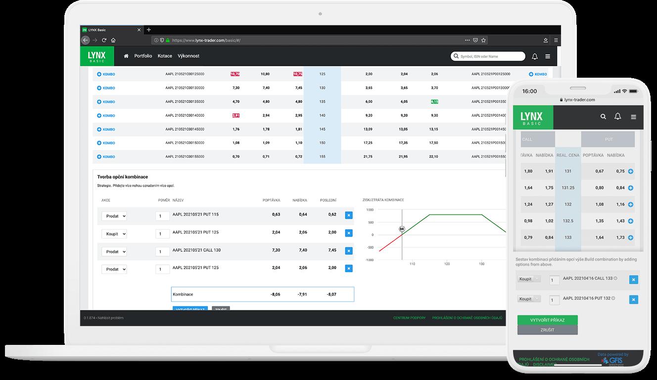Detail obchodní platformy LYNX Basic umožňující zadávání opčních kombinací a spreadů