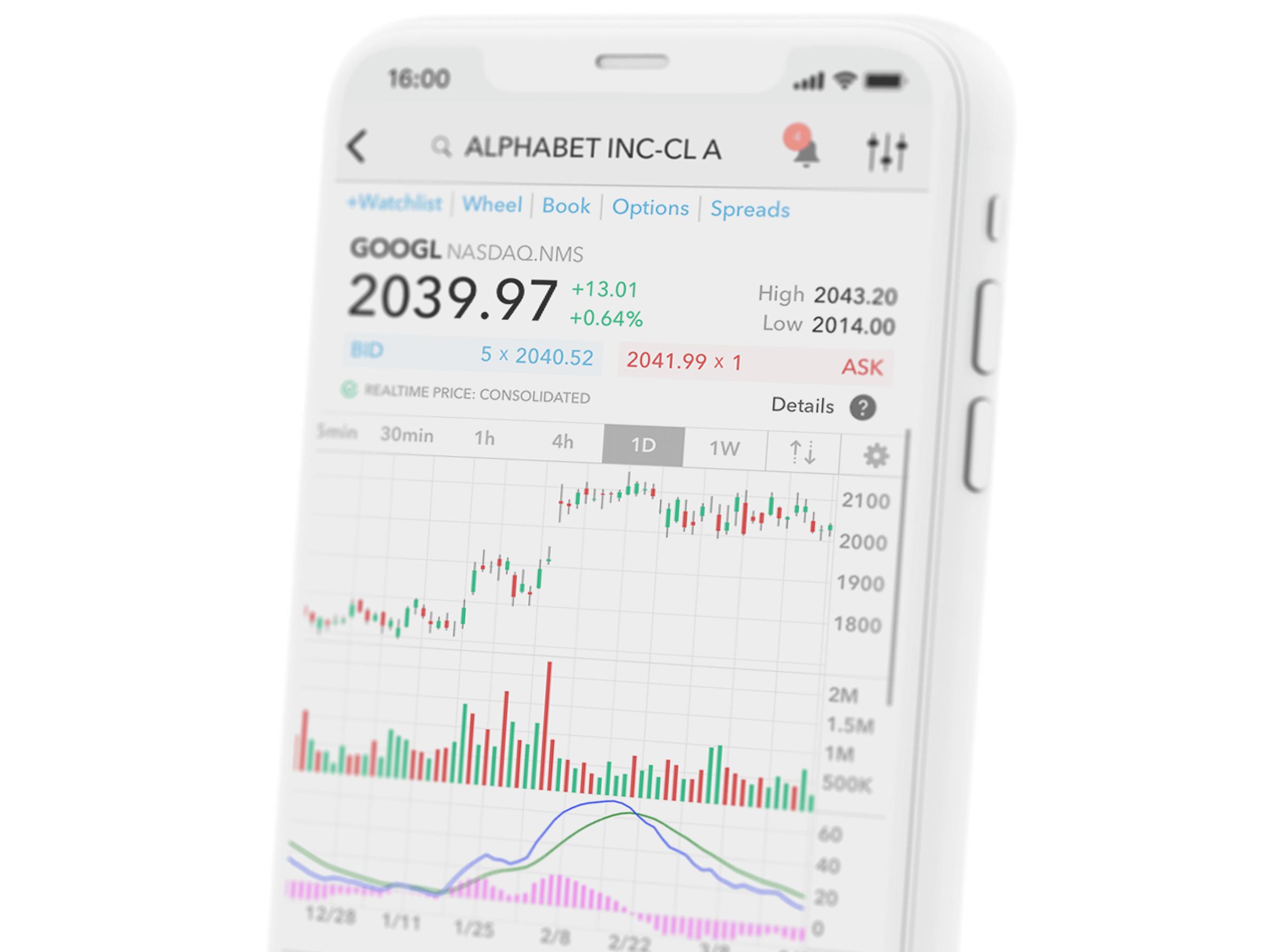 Mobilní zařízení s obchodní aplikací a cenovým grafem akcie Alphabet