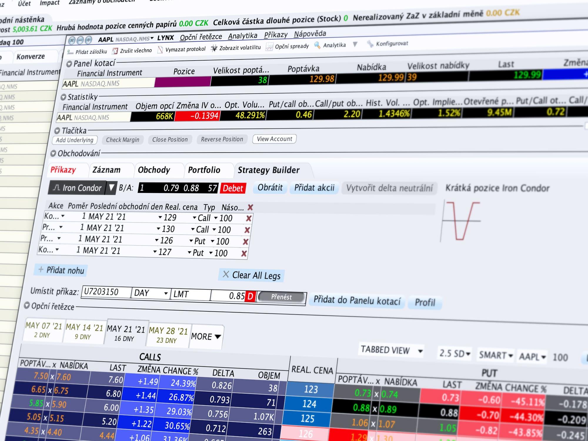 Ukázka obchodování v nástroji OptionTrader a tvorby úspěšných strategií