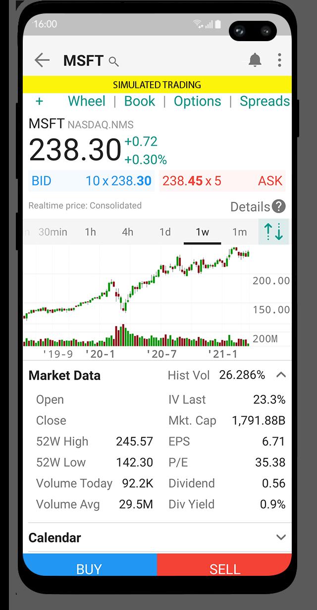 Demoúčet a platforma LYNX Trading s cenovým grafem MSFT otevřený na mobilním zařízení s Android