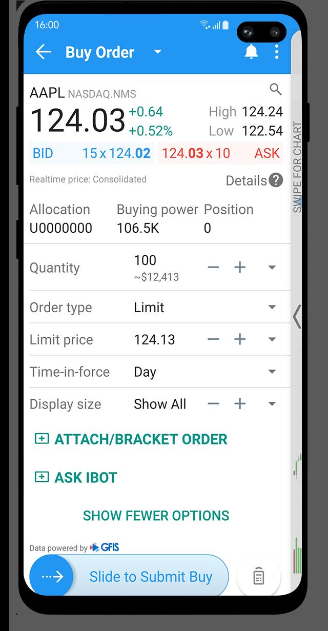 Obchodní aplikace LYNX Trading se zadaným limitním příkazem na nákup akcie AAPL na mobilním zařízení s Android