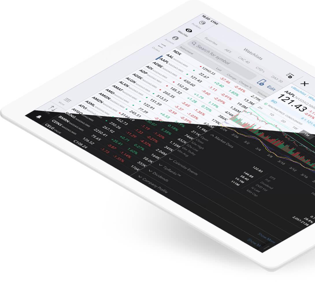 iPad s otevřenou obchodní platformou LYNX Trading na detailu akcie Apple