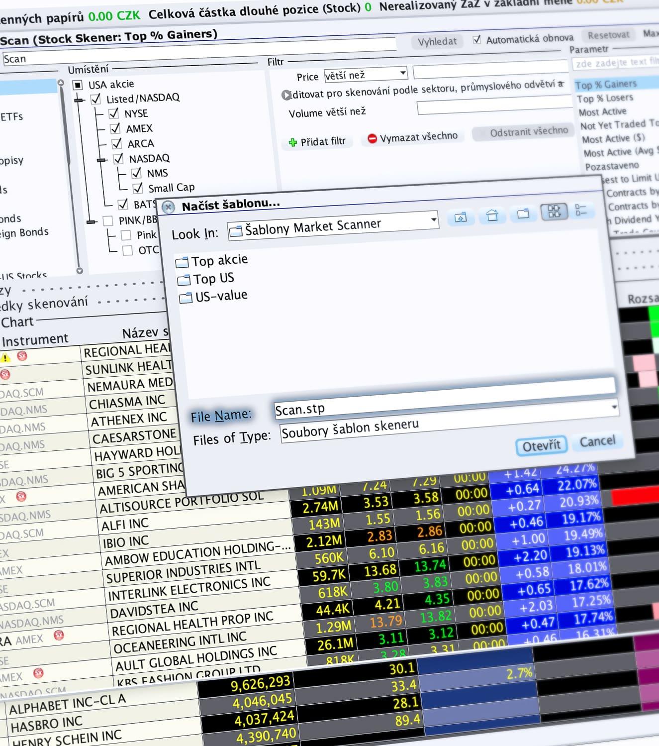 Ukázka snadného uložení parametrů hledaní v Marketscanner