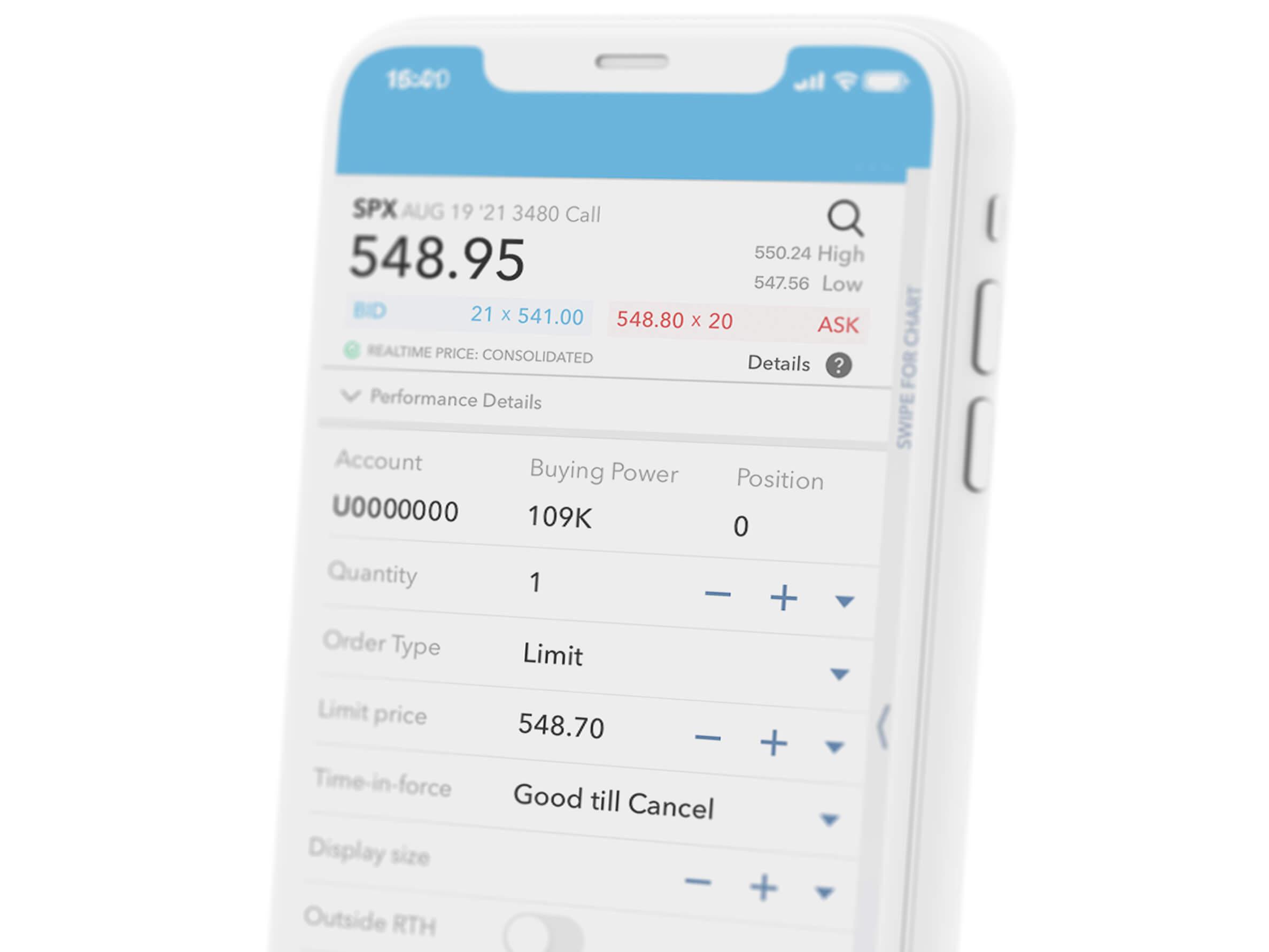 Mobilní telefon s obchodní aplikací LYNX Trading na které můžete obchodovat i futures