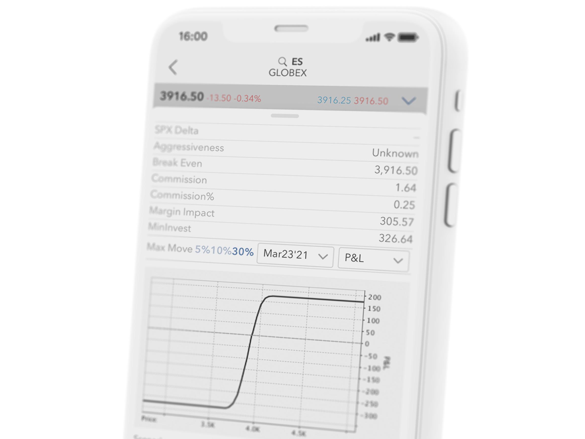 Smartphone s obchodní aplikací LYNX Trading která umožńuje obchodovat opce
