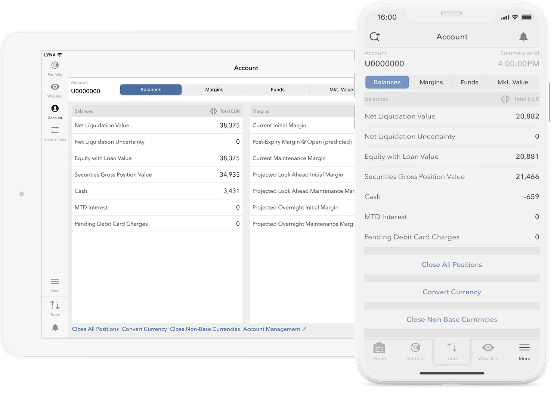 Mobilní zařízení s obchodní aplikací a informacemi o investičním účtu