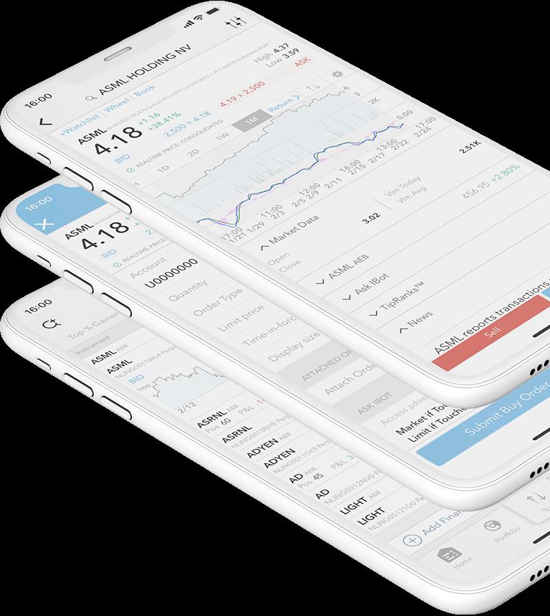 Smartphone zařízení s mobilní obchodní aplikací pro obchodování certifikátů