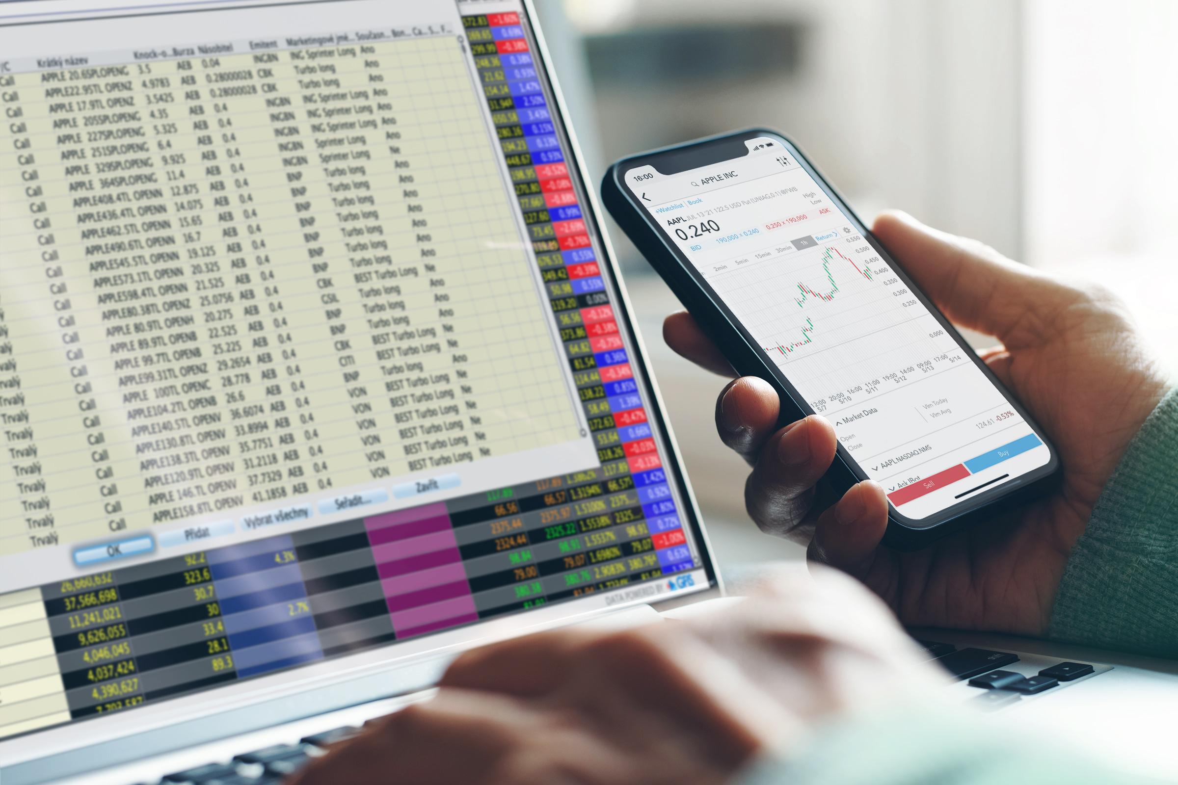 Obchodování warranntů prostřednictvím TWS a mobilního telefonu