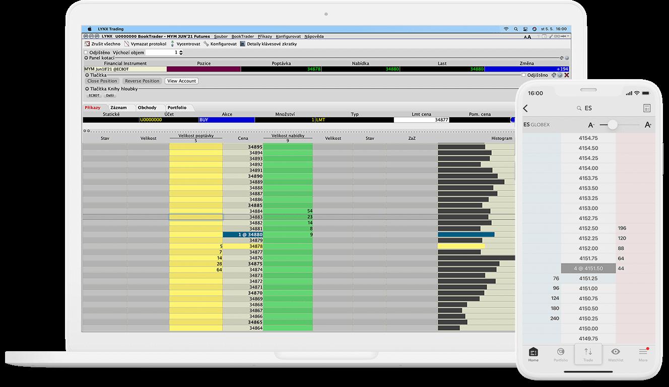 Detail obchodního nástroje BookTrader pro počítač i mobilní zařízení