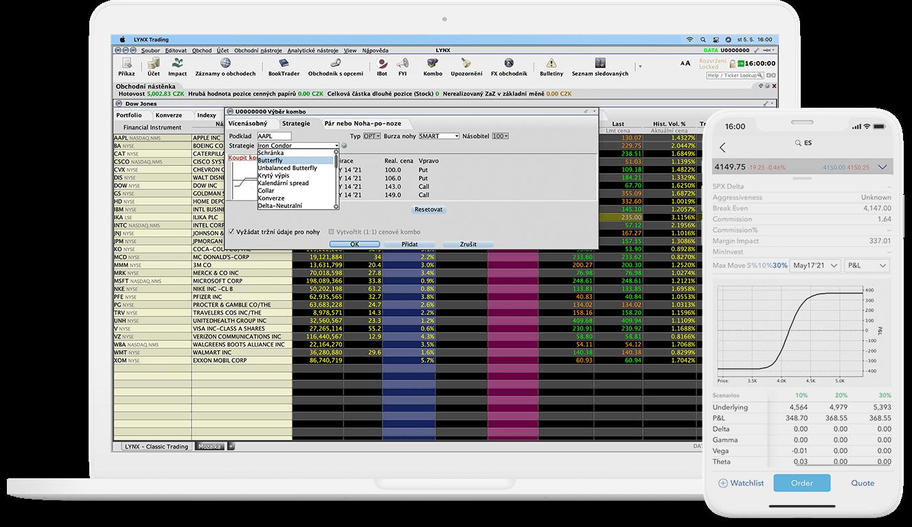 Detail obchodního nástroje ComboTrader pro počítač i mobilní zařízení