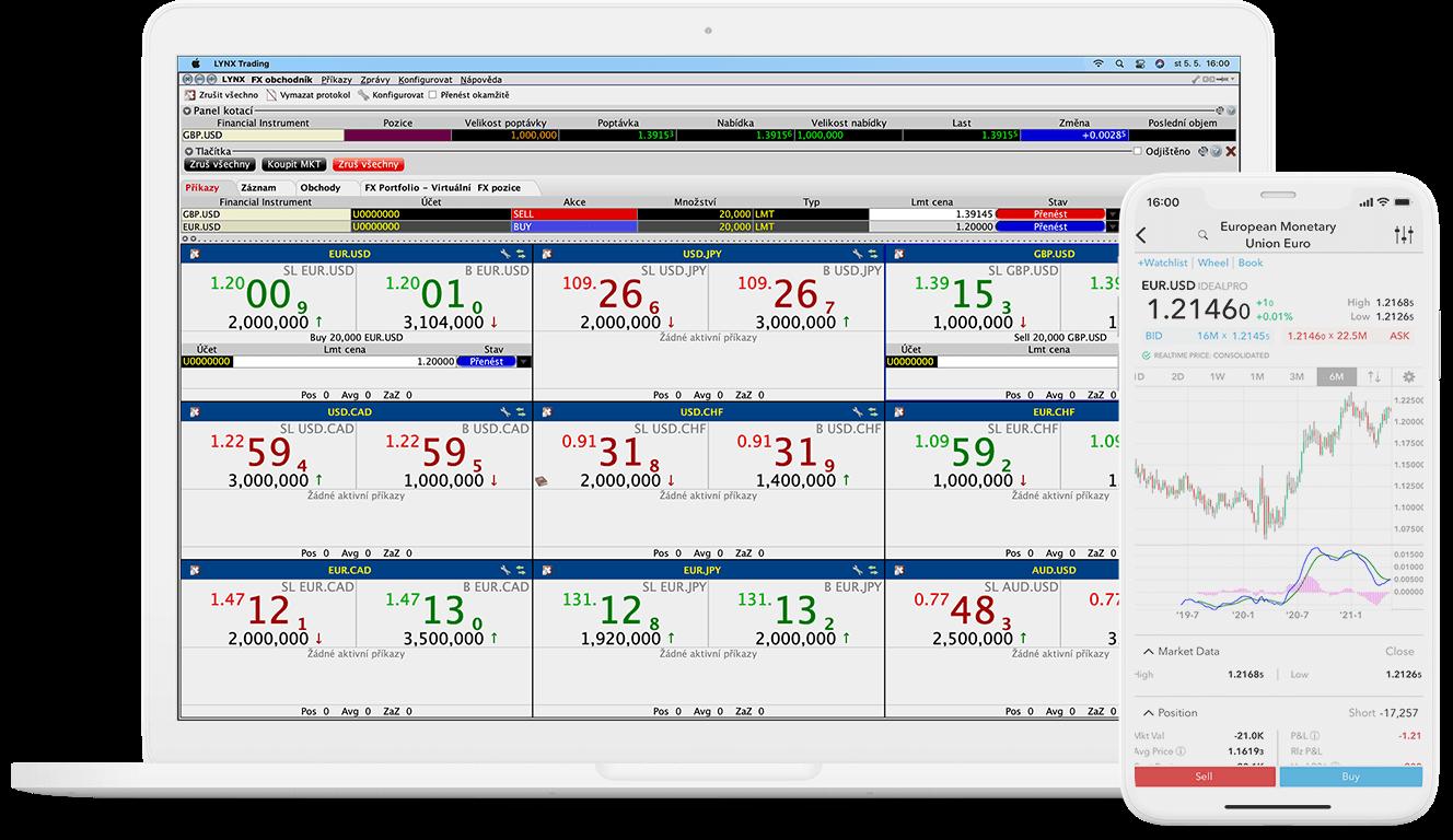 Detail obchodního nástroje FX Trader pro počítač i mobilní zařízení