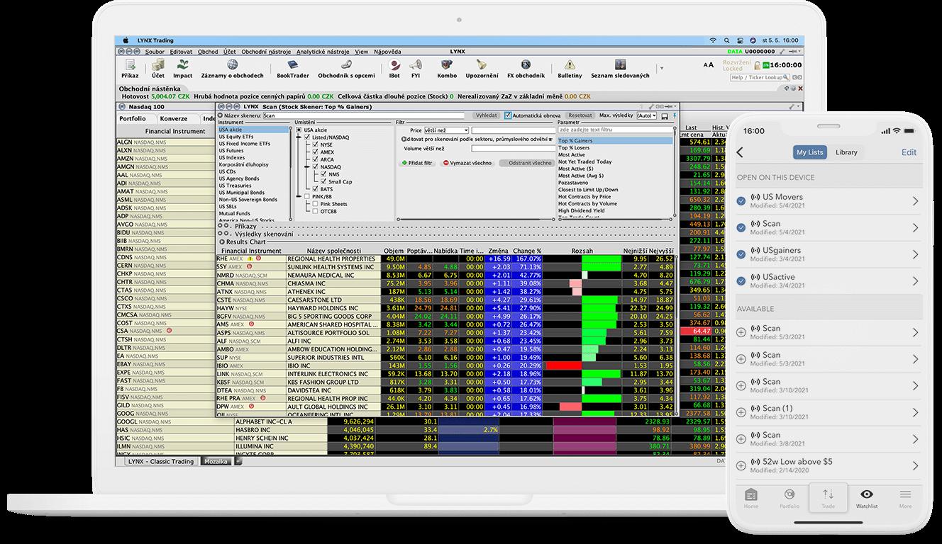 Detail obchodního nástroje MarketScanner pro počítač i mobilní zařízení