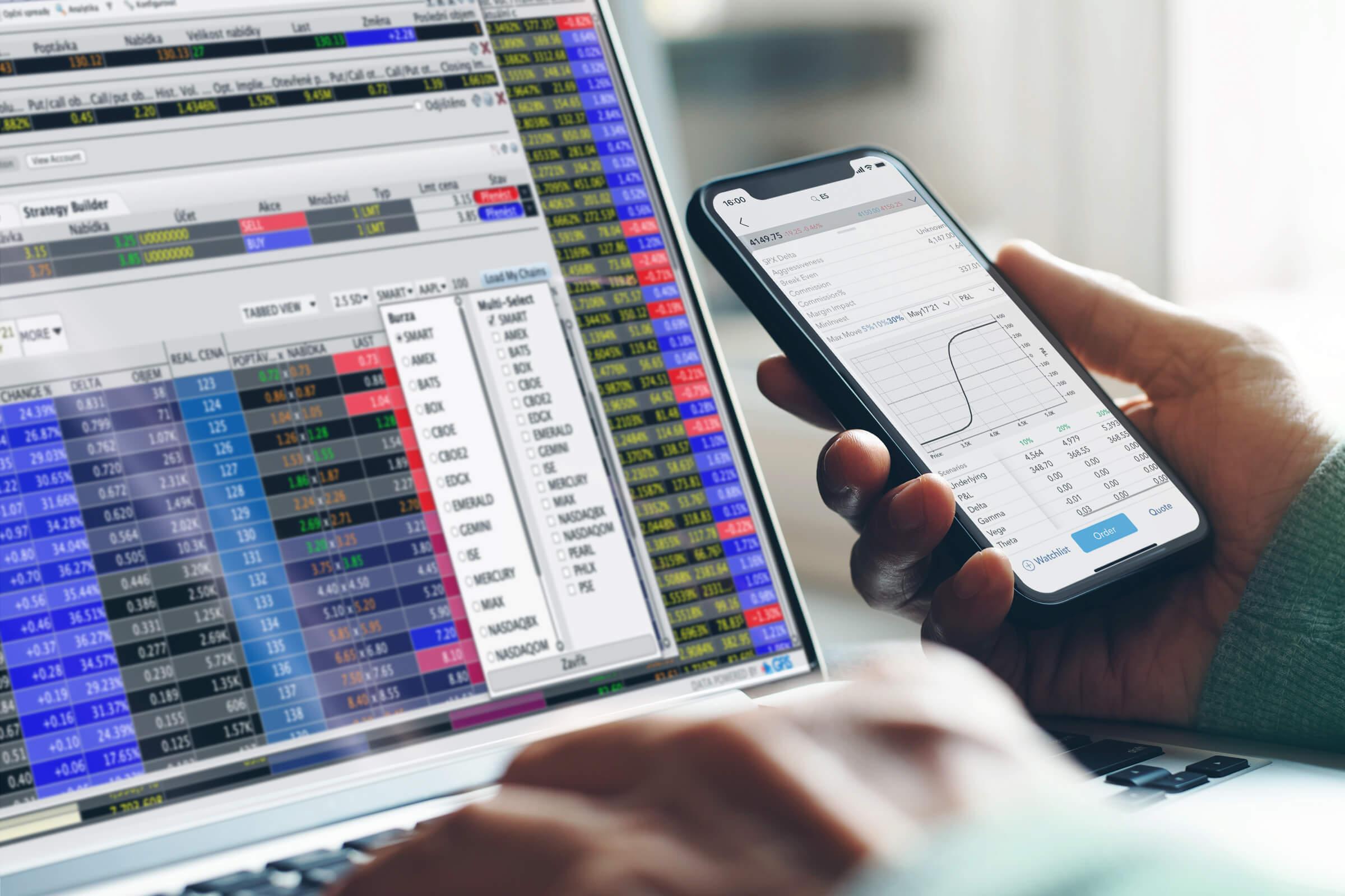 Obchodní platforma na které můžete prostřednictvím LYNX obchodovat opce