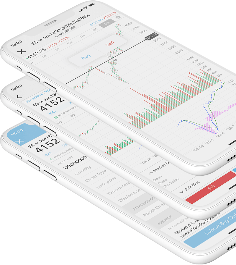 Smartphone s mobilní obchodní aplikací a otevřeným cenovým grafem futures a obchodním příkazem