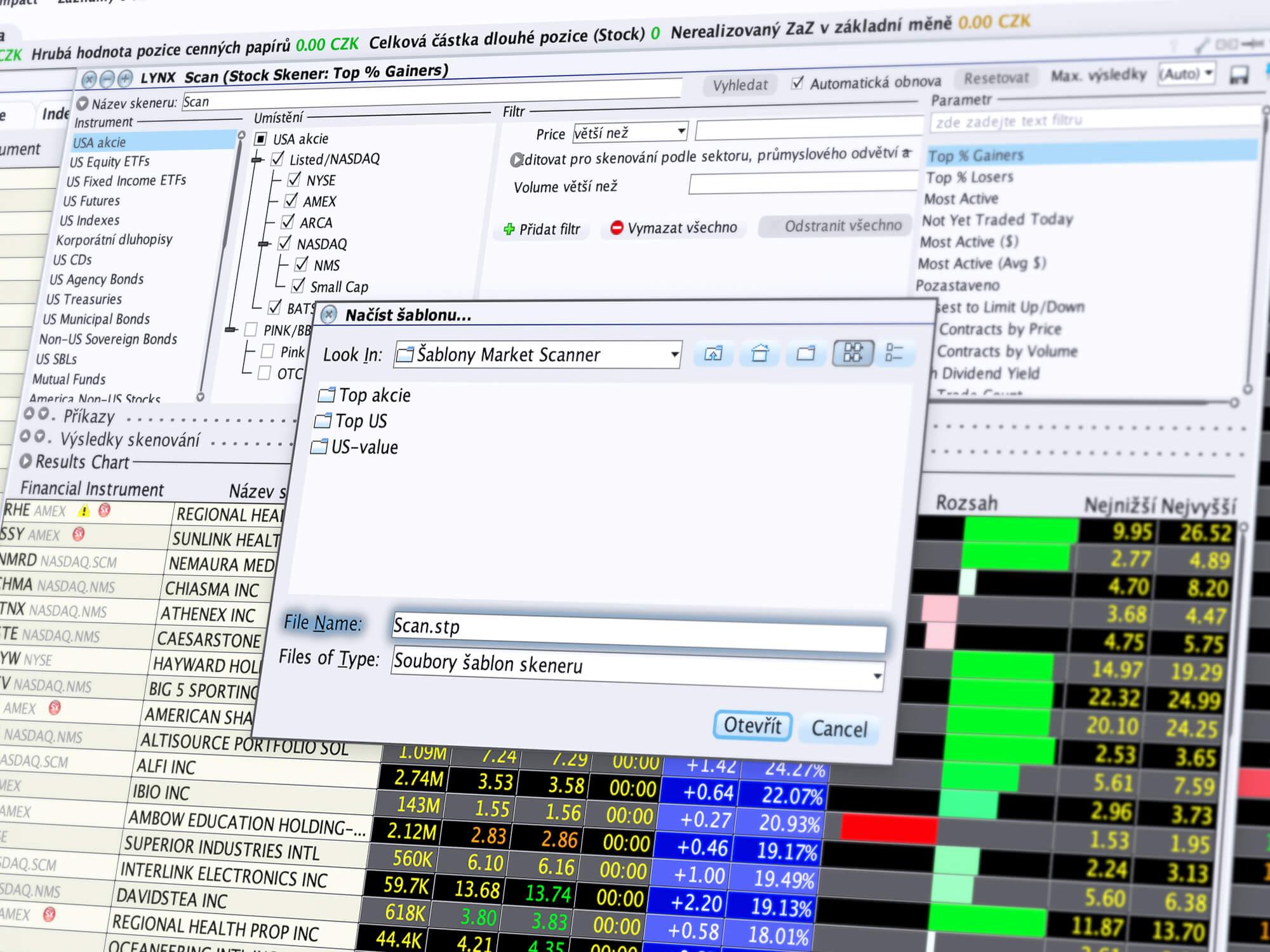 Obchodní nástroj MarketScanner s šablonou top akcie