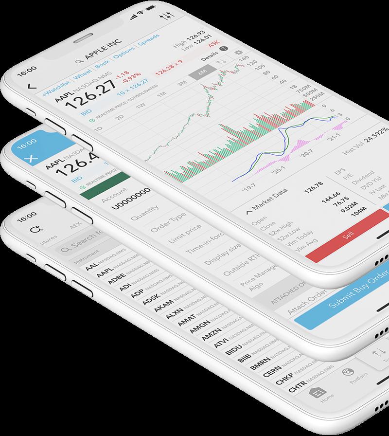 Mobilní zařízení s obchodní aplikací LYNX Trading a cenovým grafem akcie Apple