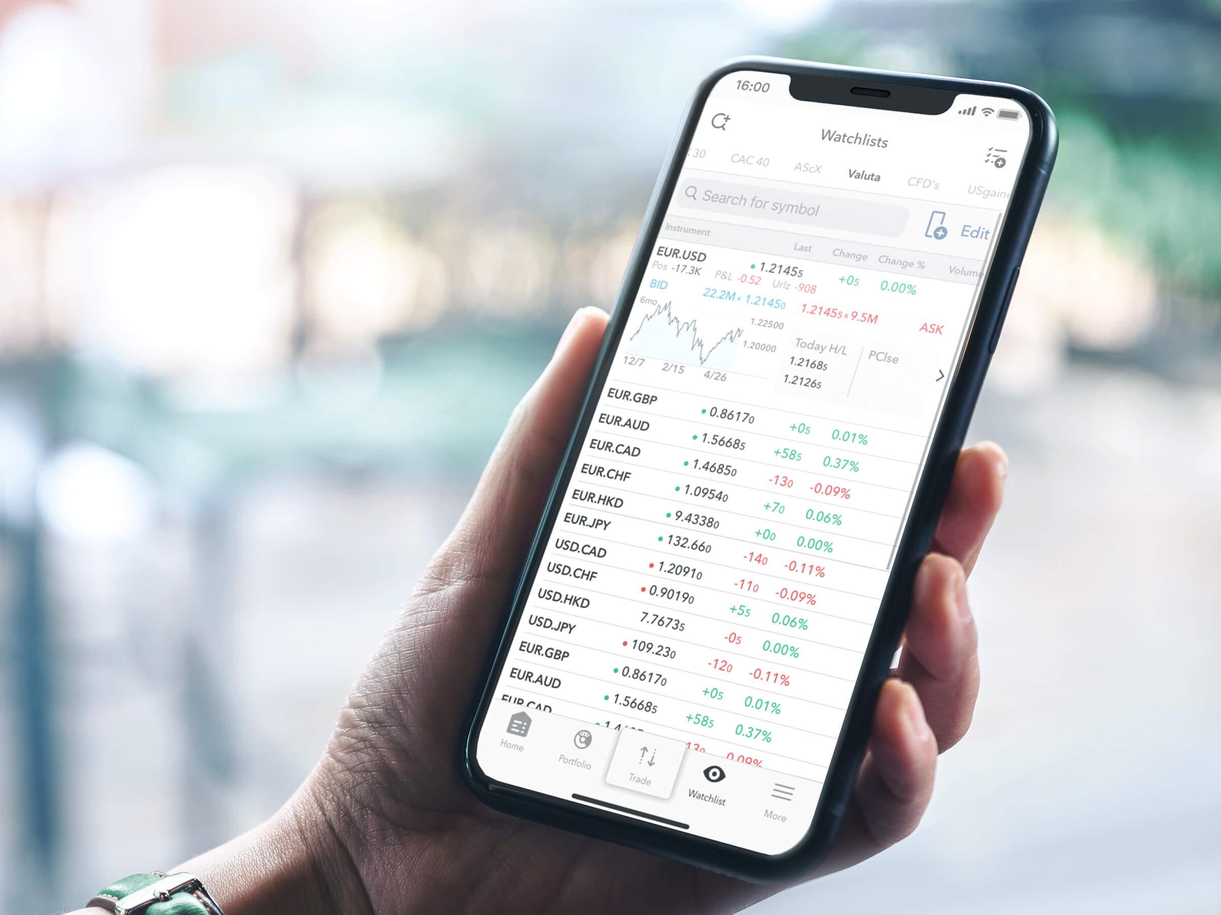 Mobilní zažízení s watchlistem vybraných měnových párů