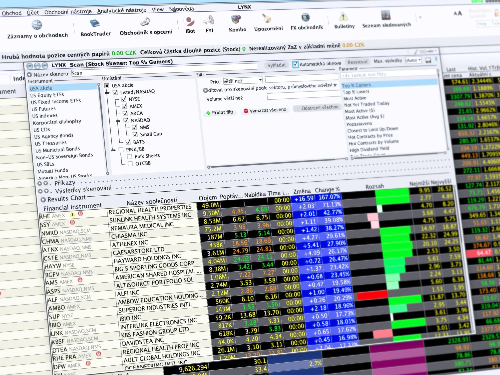MarketScanner díky kterému investor může pohodlně filtrovat nejlepší akcie dle zadaných kritérií