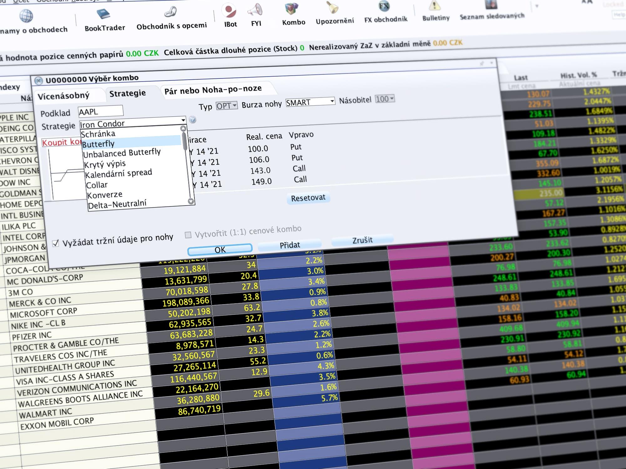 Ukázka obchodování v LYNX TWS prostřednictvím nástroje ComboTrader