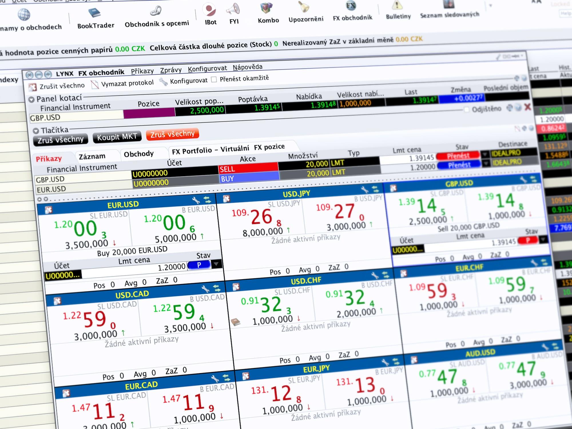 Ukázka obchodování v LYNX TWS prostřednictvím nástroje FX Trader