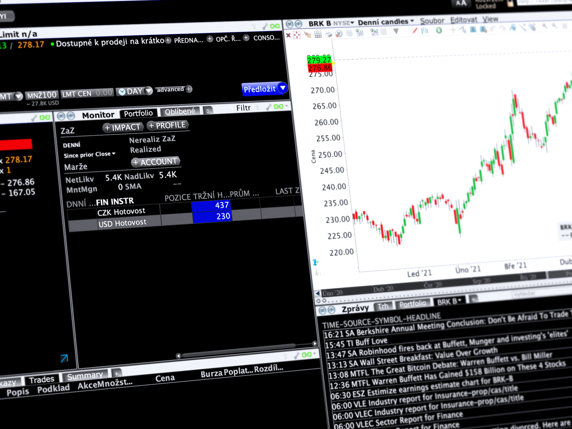Obchodní platforma Trader Workstation (TWS) v zobrazení Mosaic