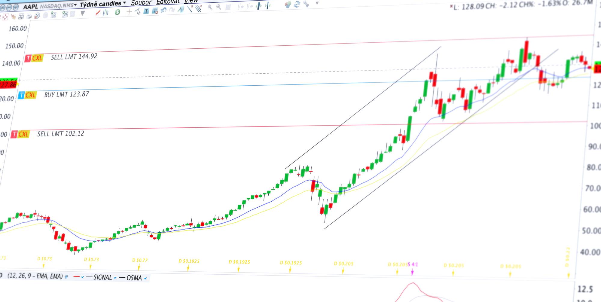Detail obchodní platformy Trader Workstation (TWS) s cenovým grafem a obchodními příkazy na akcii AAPL