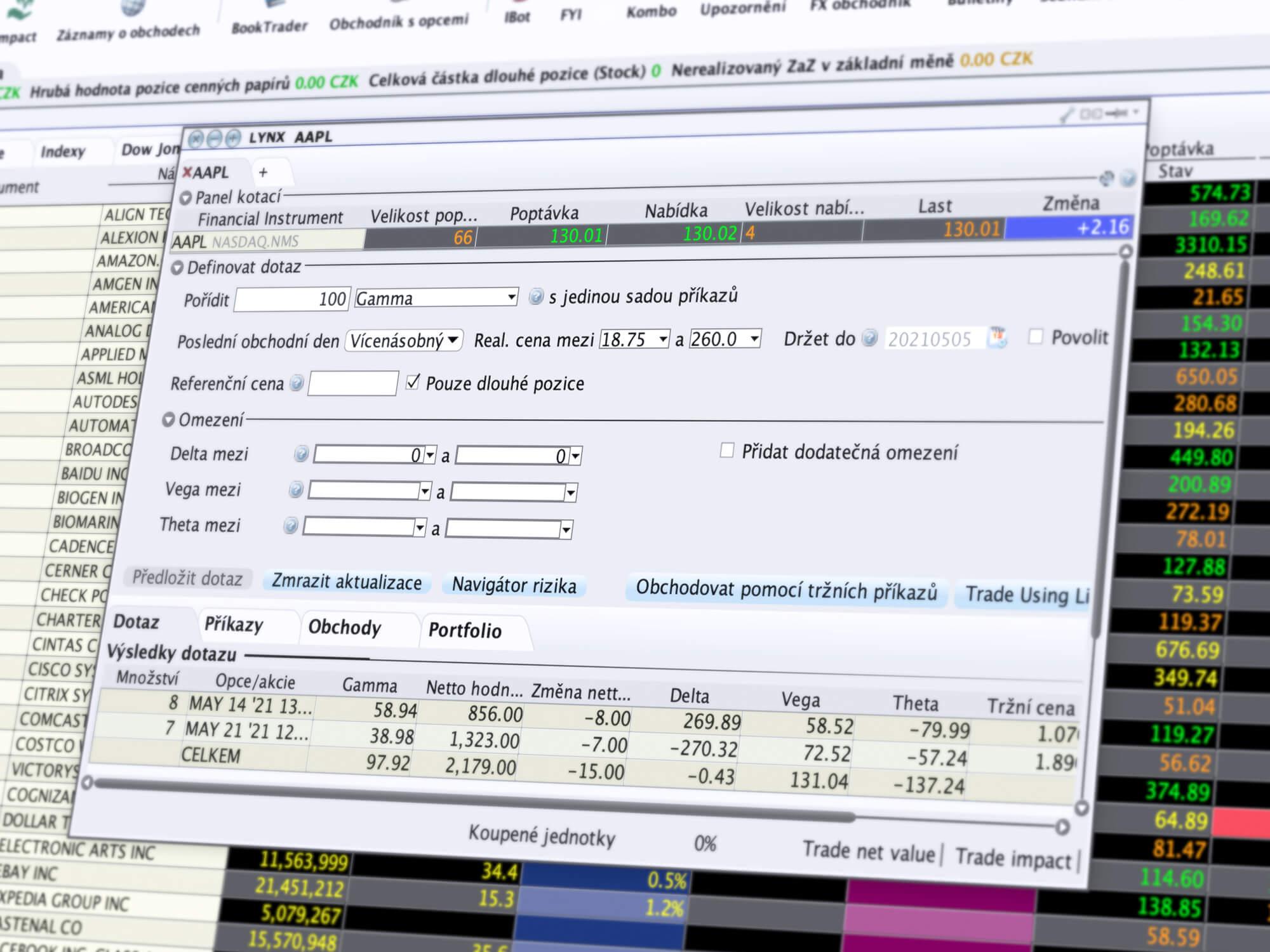 Detail obchodního nástroje Options Portfolio