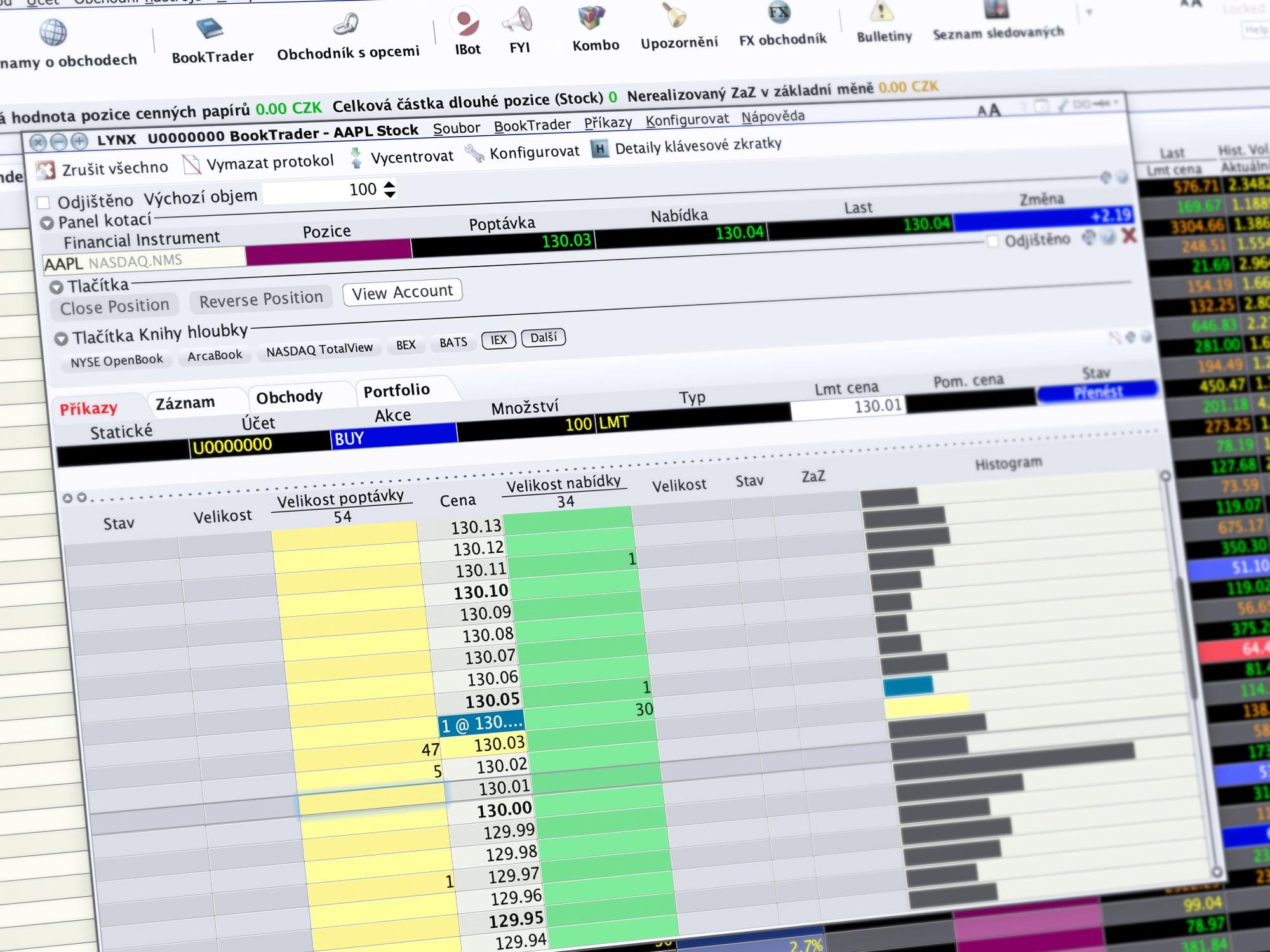 Ukázka obchodování v TWS prostřednictvím nástroje Booktrader