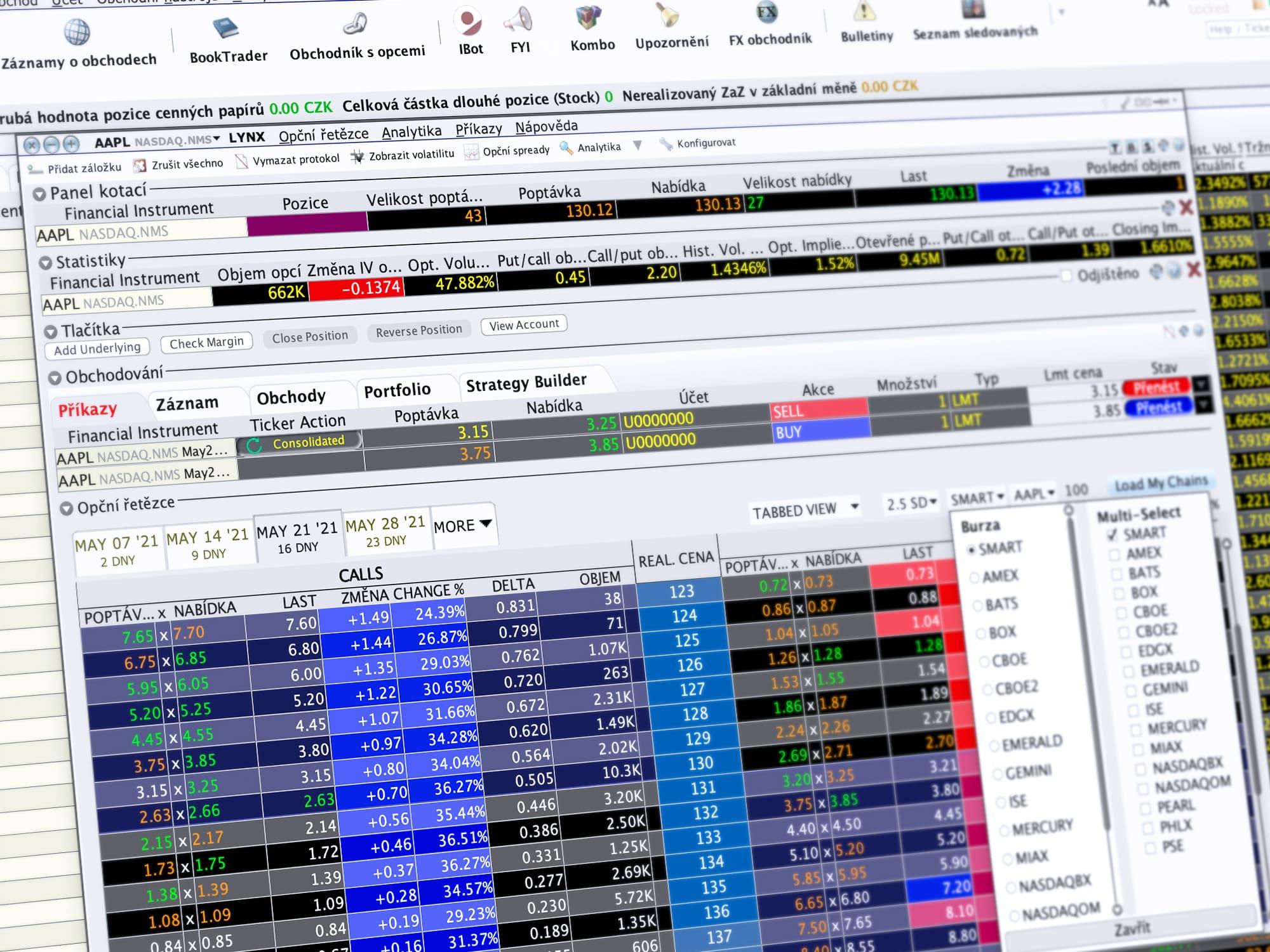 Ukázka obchodování v TWS prostřednictvím nástroje Optiontrader