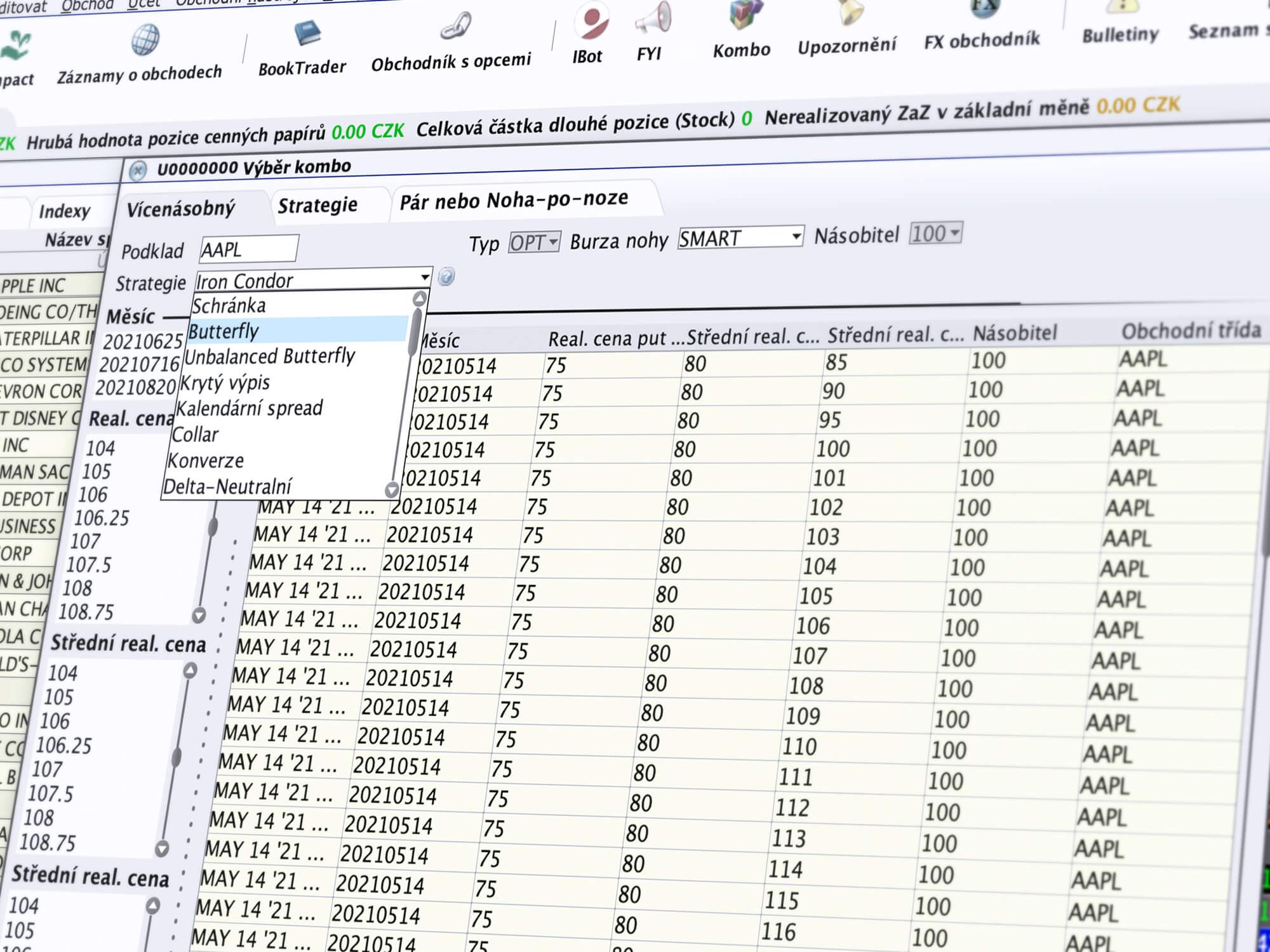 Obchodní nástroj ComboTrader pro zadávání kombinovaných obchodních příkazů