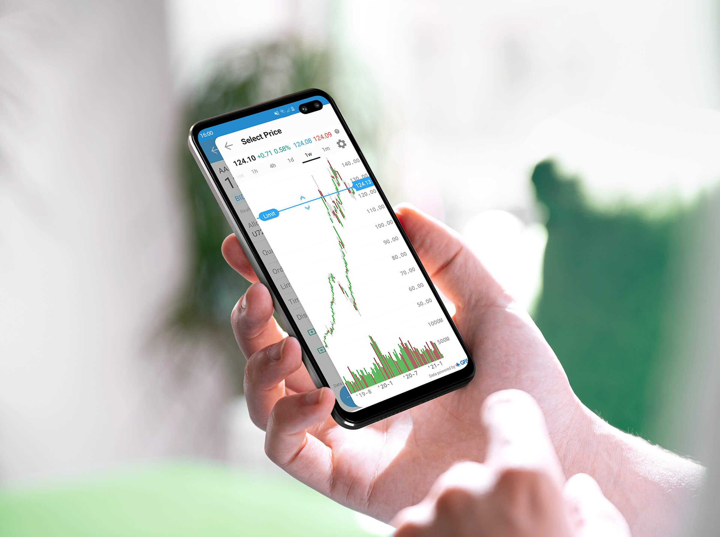 Mobilní zařízení s operačním systémem Android a obchodní aplikací s cenovým grafem akcie