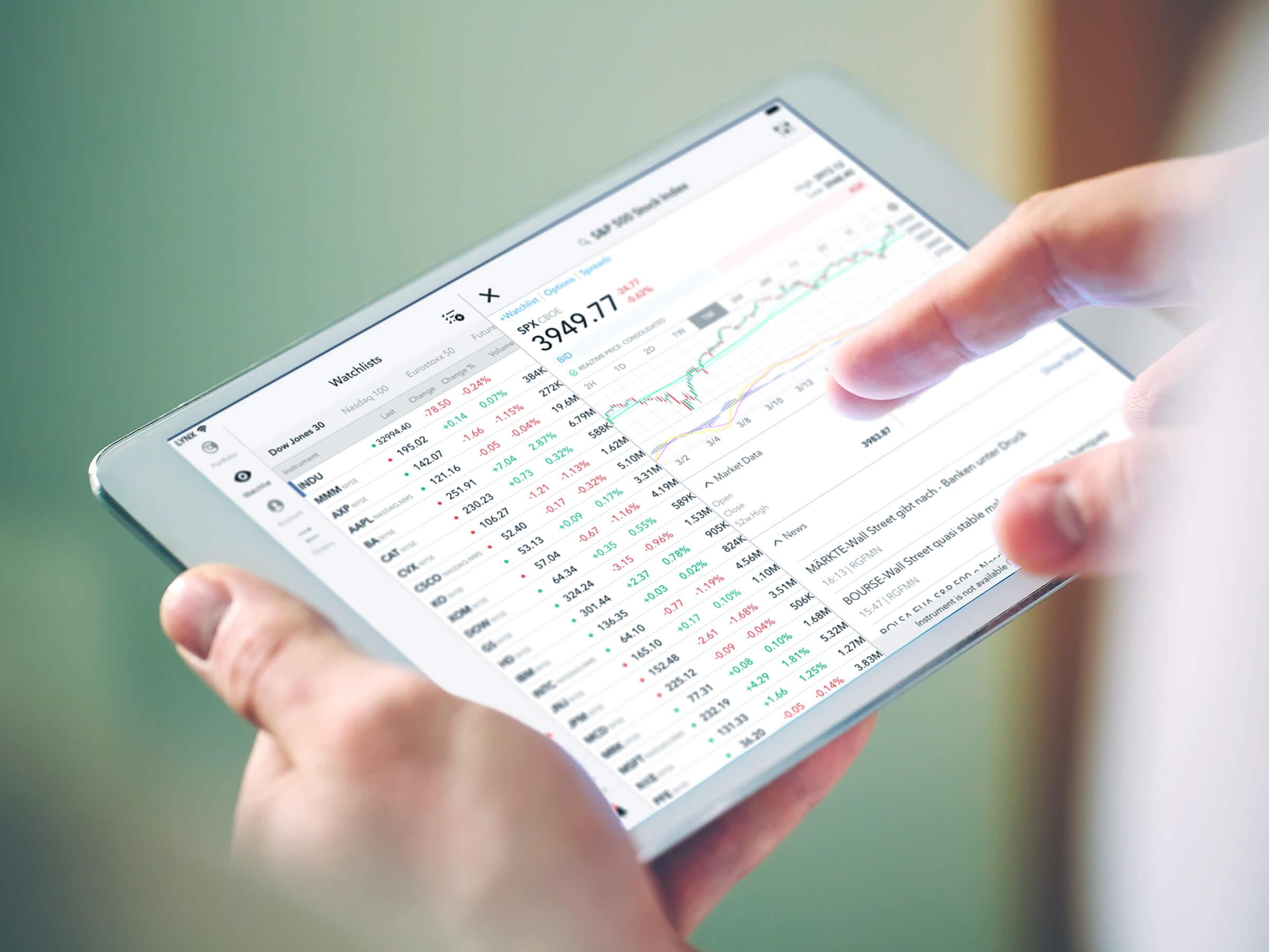 Obchodní platforma LYNX Trading s cenovým grafem akcie na zařízení iPad