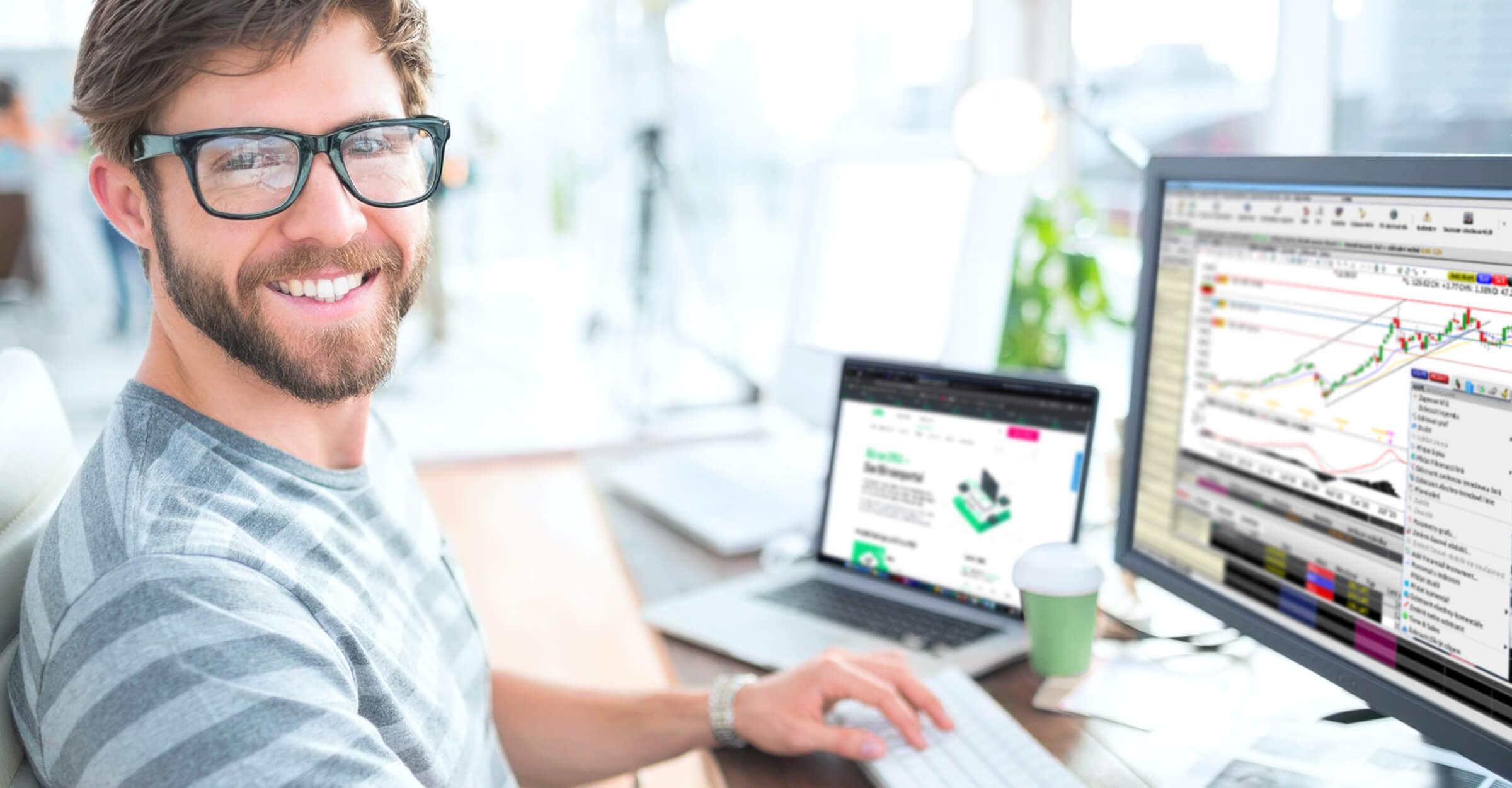 Úspěšný trader a klient LYNX obchodující prostřednictvím platformy Trader Workstation (TWS)