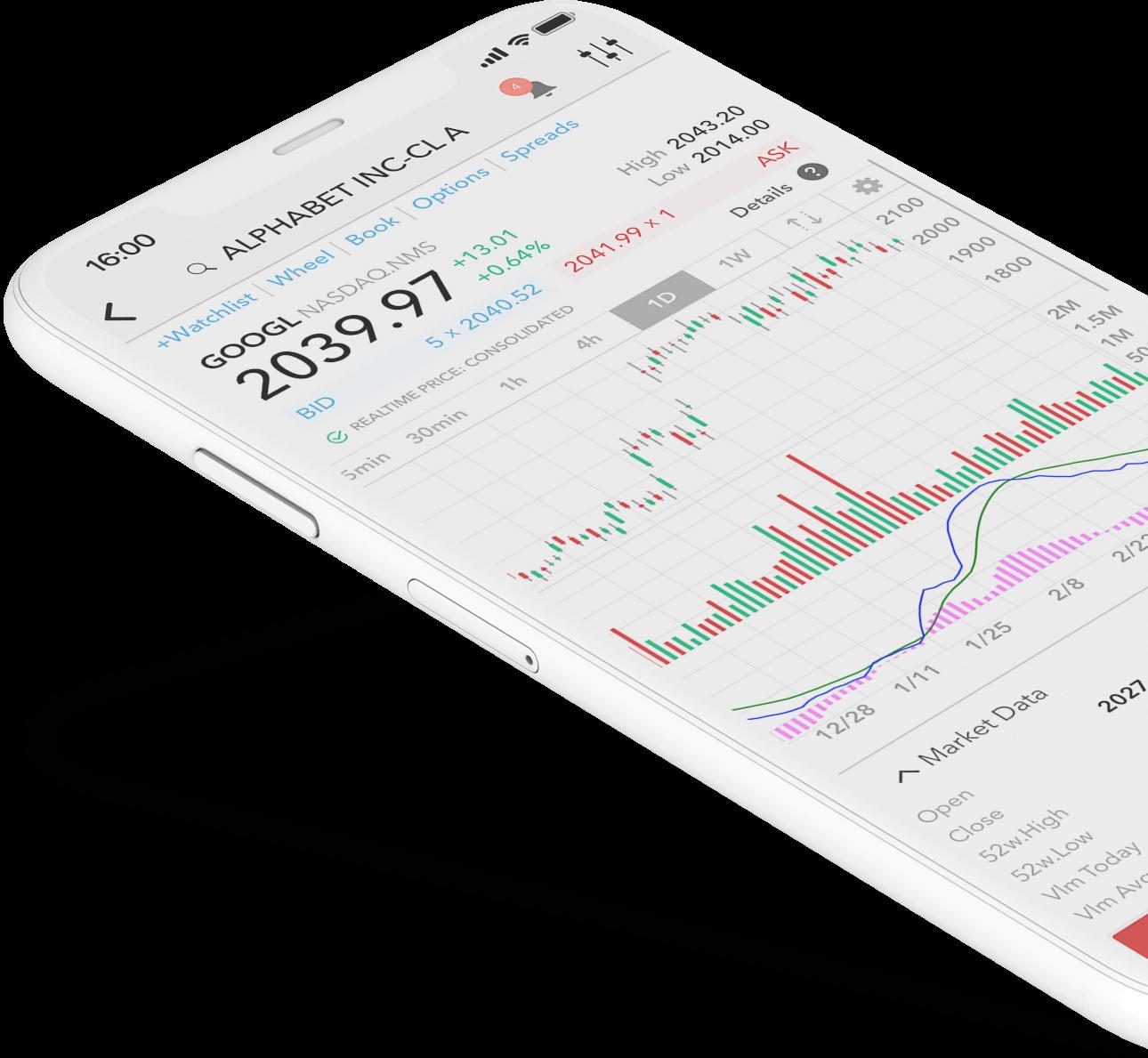 Smartphone s aplikací LYNX Trading a cenovým grafem akcie Alphabet