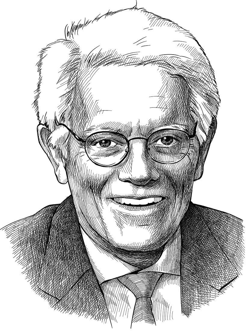 Kresba obličeje usmívajícího se Petera Lynche