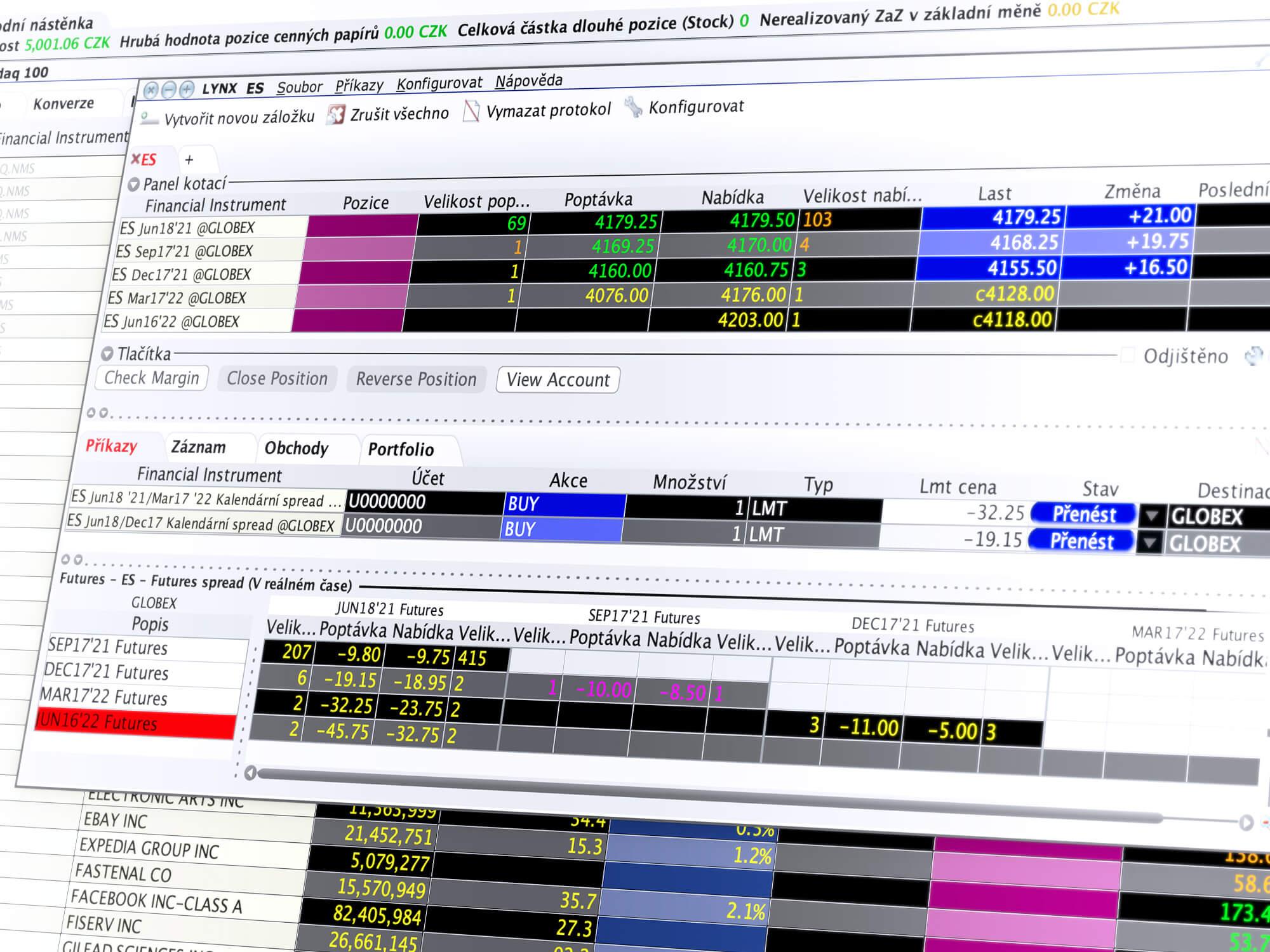Detail obchodního nástroje SpreadTrader pro snadné obchodování spreadů