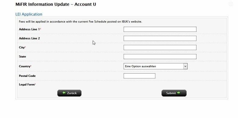 IB LEI vyplňovací formulář